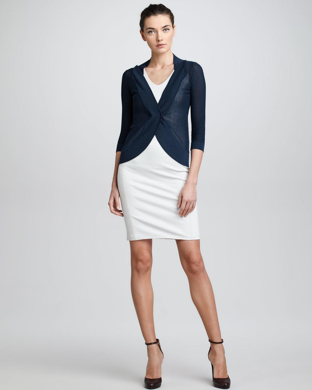 Navy White Sheath Dress