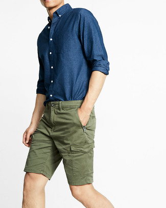 How to wear: navy chambray long sleeve shirt, olive shorts