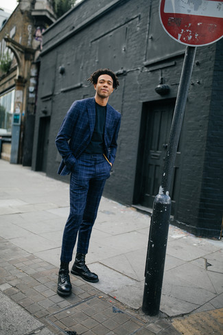 How to wear: navy check suit, black crew-neck t-shirt, black leather casual boots