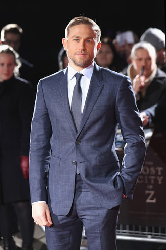 How to wear: navy check suit, light blue dress shirt, navy tie