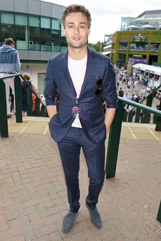 How to wear: navy check suit, white crew-neck t-shirt, grey suede derby shoes