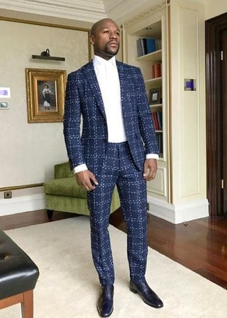 How to wear: navy check suit, white dress shirt, navy leather oxford shoes