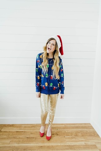 How to wear: navy christmas crew-neck sweater, gold sequin skinny pants, red leather pumps
