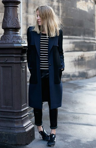 Tap into refined, elegant style with a navy coat and black leather skinny pants. Marc by Marc Jacobs women's Navy Satin Laceless Cute Kicks Sneakers will give your look an on-trend feel. Can you see how very easy it is to look stylish and stay comfy when cooler weather arrives, all thanks to ensembles like this one?