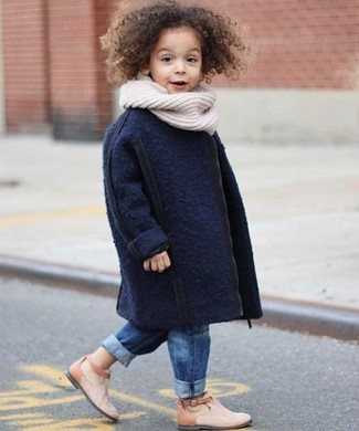 How to wear: navy coat, blue jeans, beige boots, white scarf