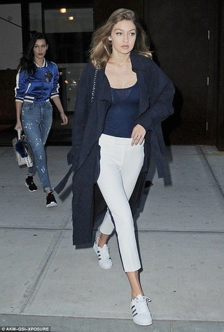 How to wear: navy coat, navy tank, white capri pants, white leather low top sneakers
