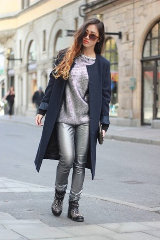 How to wear: navy coat, silver crew-neck sweater, silver leather skinny pants, black studded leather ankle boots