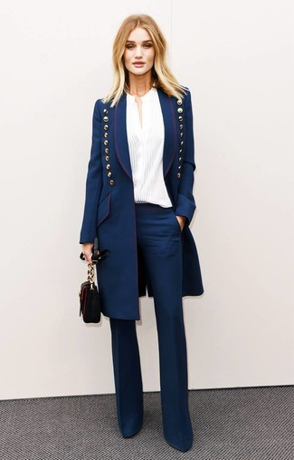How to wear: navy coat, white button down blouse, navy flare pants, black leather crossbody bag