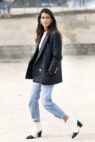 Women's Navy Tweed Coat, White Crew-neck T-shirt, Light Blue Jeans, White and Black Leather Ankle Boots