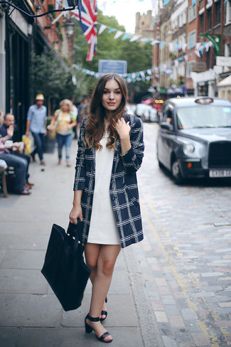 How to wear: navy check coat, white shift dress, black leather heeled sandals, black leather tote bag
