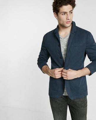Men's Navy Cotton Blazer, Grey V-neck T-shirt, Charcoal Jeans ...