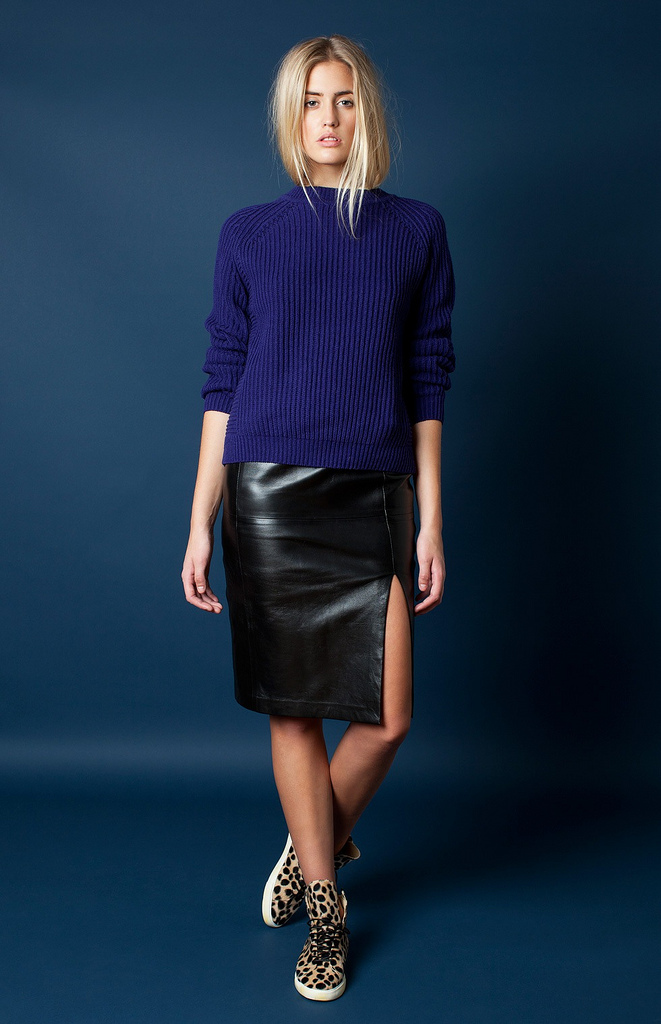 Women's Navy Crew-neck Sweater, Black Leather Pencil Skirt, Brown ...