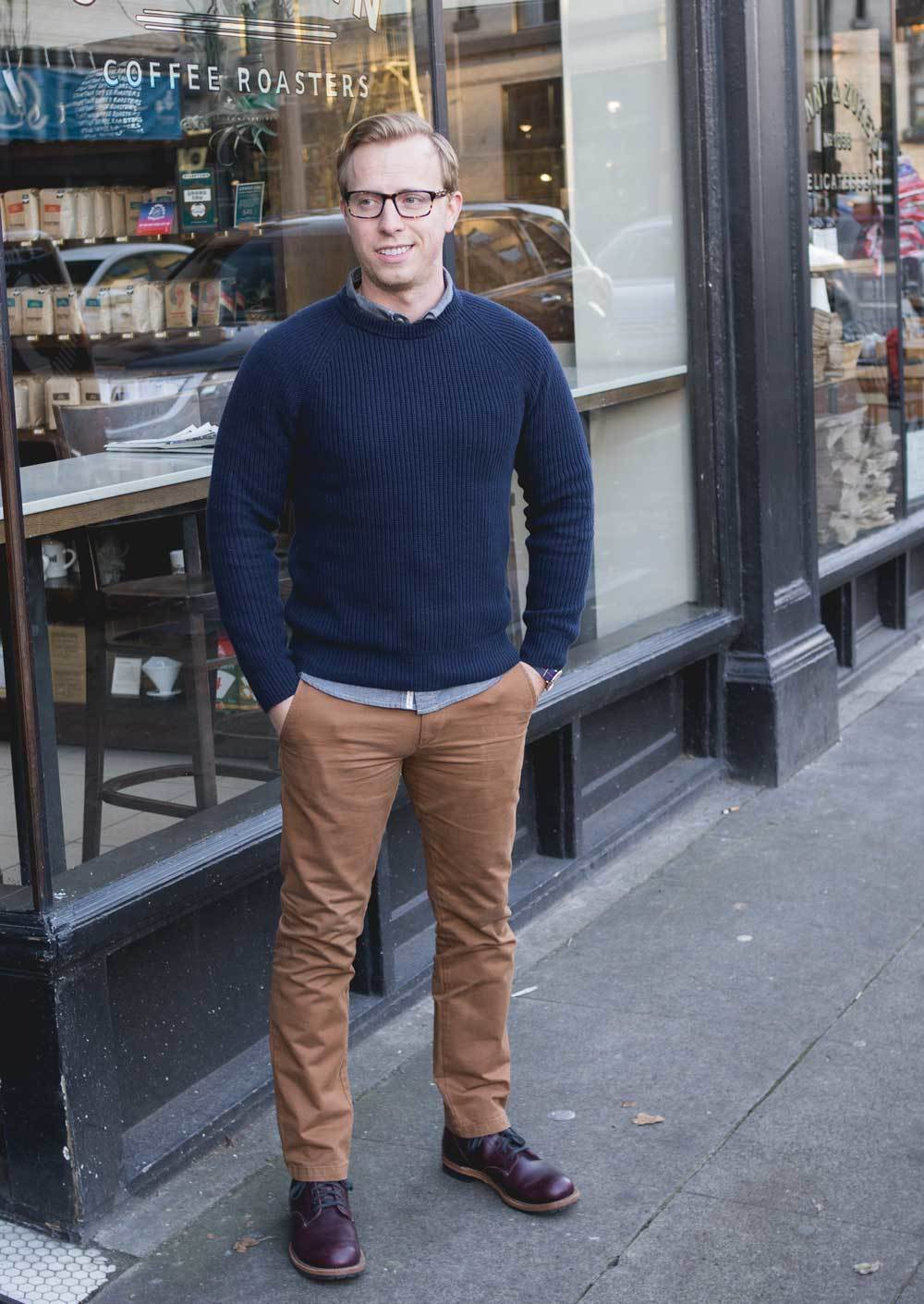 How To Wear Khaki Chinos With a Navy Crew-neck Sweater | Men's Fashion