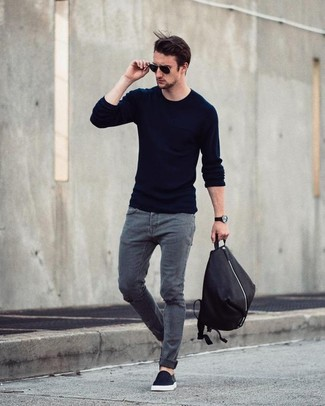 This combination of a navy crew-neck sweater and INC International Concepts men's Jeans Ciro Skinny Jeans is super easy to create and so comfortable to wear as well! Balance this ensemble with black slip-on sneakers. When it comes to dressing for in-between weather, nothing beats a killer combo that will keep you snug and looking your best.