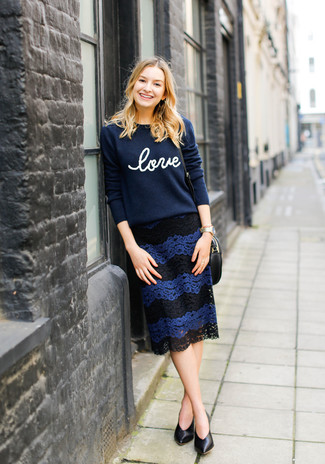 How to wear: navy print crew-neck sweater, navy lace pencil skirt, black leather pumps, gold watch