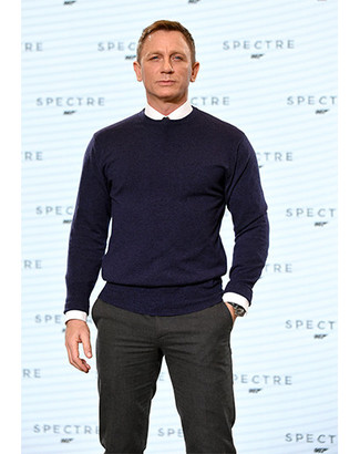 Daniel Craig Wearing Navy Crew Neck Sweater White Dress Shirt
