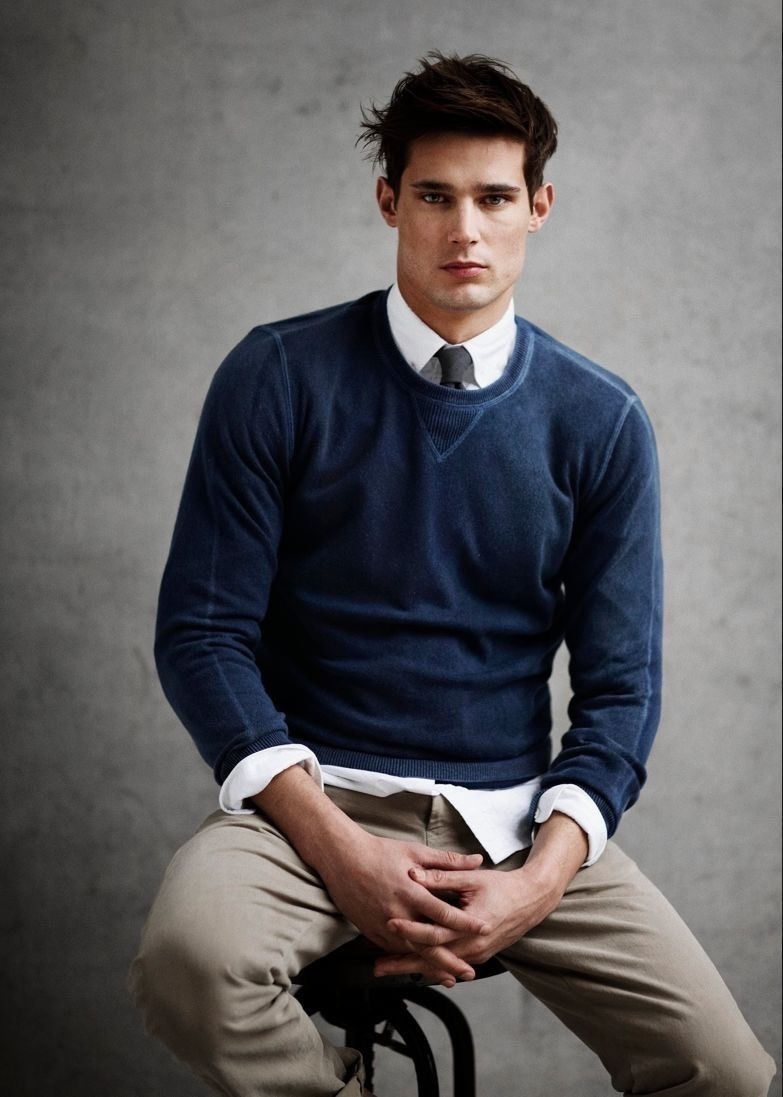 How To Wear a Navy Crew-neck Sweater With a White Dress Shirt ...