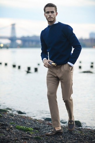 Men's Navy Crew-neck Sweater, White Dress Shirt, Khaki Dress Pants ...