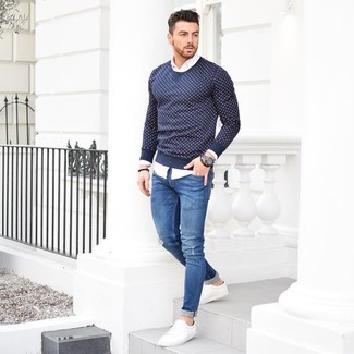 Navy Ripped Skinny Jeans | Men's Fashion