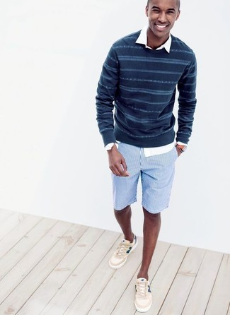This combo of a Paul Smith men's Ps By Fine Striped Knitted Jumper and light blue vertical striped shorts embodies comfort without compromising style. With shoes, throw in a pair of beige low top sneakers. Come summertime you're looking for an ensemble to keep you fresh and stylish –– this outfit is just the one you need.