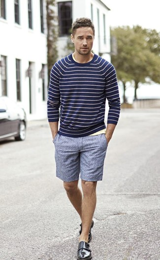 Go for a navy horizontal striped crew-neck sweater and blue shorts for a refined yet off-duty ensemble. Take a classic approach with the footwear and grab a pair of black leather double monks. If you're looking for a summer-ready look, this here is your inspiration.
