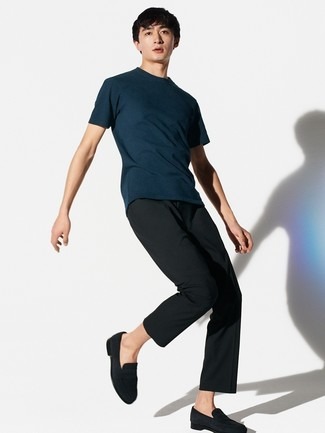 How to wear: navy crew-neck t-shirt, black dress pants, black suede loafers