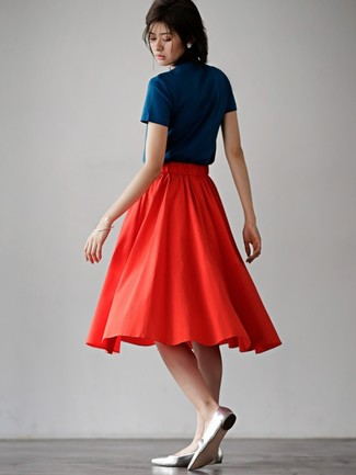 How to wear: navy crew-neck t-shirt, red pleated midi skirt, silver leather ballerina shoes