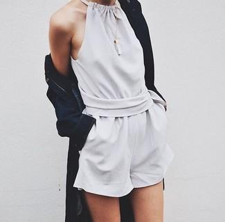 How to wear: navy denim coat, grey playsuit