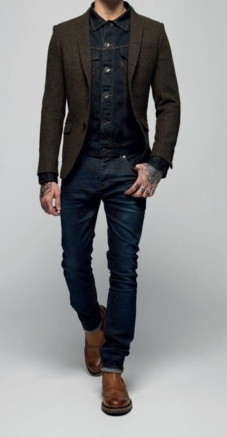 How to wear: navy denim jacket, dark brown wool blazer, navy jeans, brown leather chelsea boots