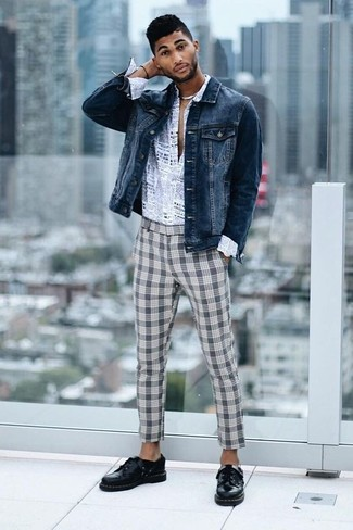 How to wear: navy denim jacket, grey print long sleeve shirt, grey plaid chinos, black leather derby shoes