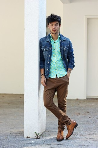 How to wear: navy denim jacket, mint polka dot long sleeve shirt, brown chinos, brown leather brogues
