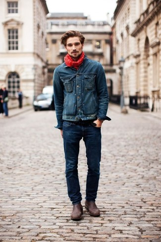 This combination of a navy denim jacket and a Barneys New York men's Gauzy Tonal Stripe Scarf is super versatile and really up for any sort of adventure you may find yourself on. Let's make a bit more effort now and grab a pair of dark brown leather chelsea boots. You can be sure this combination is ideal for fluctuating fall weather.