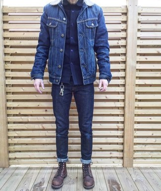 How to wear: navy denim jacket, navy long sleeve shirt, navy jeans, dark brown leather casual boots