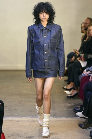 How to wear: navy denim jacket, navy denim mini skirt, pink leather heeled sandals, white wool socks