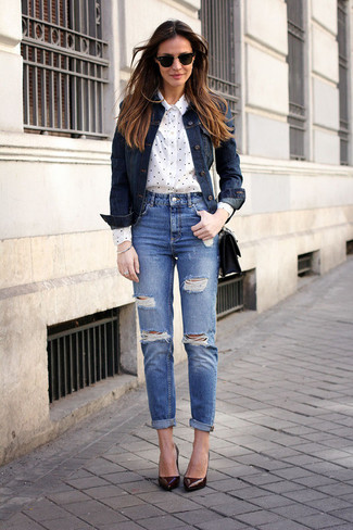 Navy Ripped Jeans | Women's Fashion