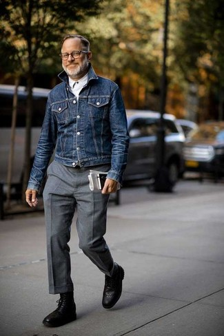 How to wear: navy denim jacket, white long sleeve shirt, grey wool dress pants, black leather brogue boots