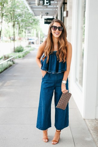 How to wear: navy denim jumpsuit, brown leather heeled sandals, brown check leather clutch