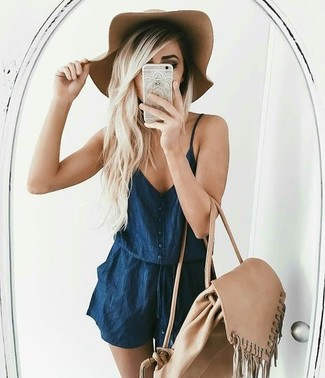 How to wear: navy denim playsuit, beige backpack, khaki wool hat