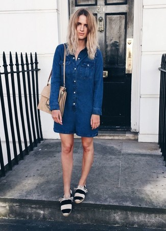How to wear: navy denim playsuit, white and black horizontal striped espadrilles, beige suede satchel bag