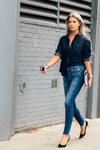 Pair a navy denim shirt with blue destroyed skinny jeans and you'll look like a total babe. Add black suede pumps to your look for an instant style upgrade.