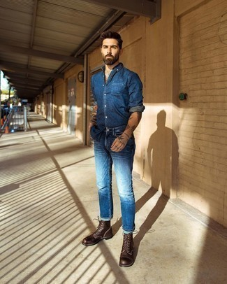 Denim Shirt Outfits For Men: This combo of a denim shirt and navy jeans is clean, stylish and very easy to copy. And if you want to easily step up this ensemble with shoes, why not complement your outfit with dark brown leather casual boots?