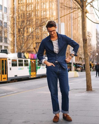 How to wear: navy denim shirt, white and navy horizontal striped long sleeve t-shirt, navy jeans, brown suede loafers
