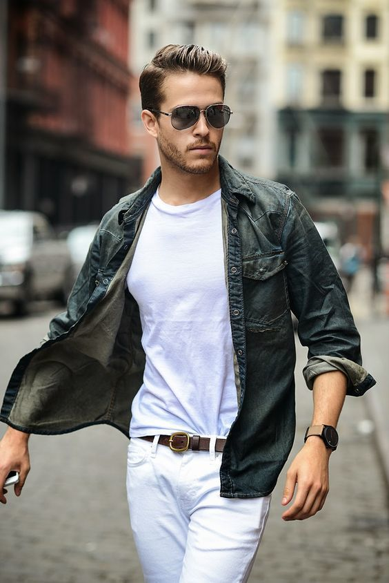 Denim shirt on white jeans