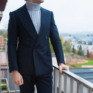 How to wear: navy double breasted blazer, grey knit turtleneck, navy dress pants