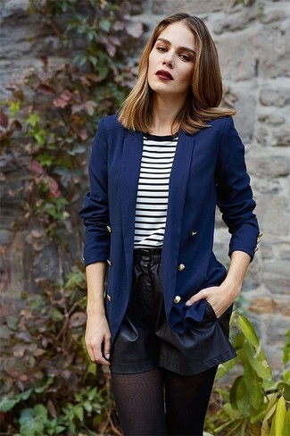 How to wear: navy double breasted blazer, white and black horizontal striped crew-neck t-shirt, black leather shorts, black tights