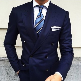 Men's Navy Double Breasted Blazer, White Dress Shirt, Blue Vertical Striped Tie, White Pocket Square