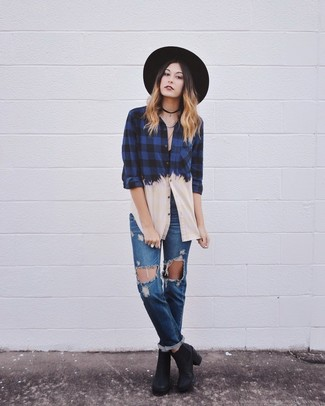 Women's Navy Check Dress Shirt, Blue Ripped Boyfriend Jeans, Black Leather Ankle Boots, Black Wool Hat