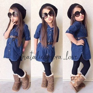 How to wear: navy denim dress, tan uggs, black beanie, black tights