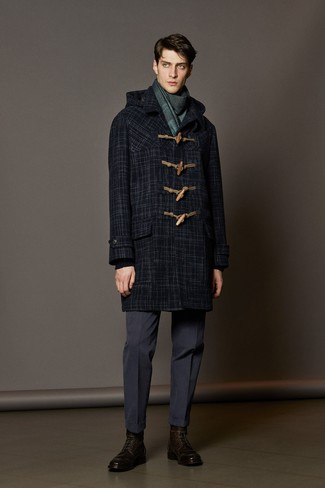 A Hugo Pratt Bareket Duffle Coat and navy dress pants are great essentials to incorporate into your current wardrobe. This look is complemented perfectly with dark brown leather dress boots. Clearly, an ensemble like this will keep you warm and stylish all season long.