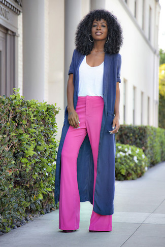How to wear: navy duster coat, white crew-neck t-shirt, hot pink flare pants